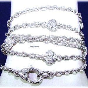 """Judith Ripka Silver Diamonique Heart Necklace 36"""""""